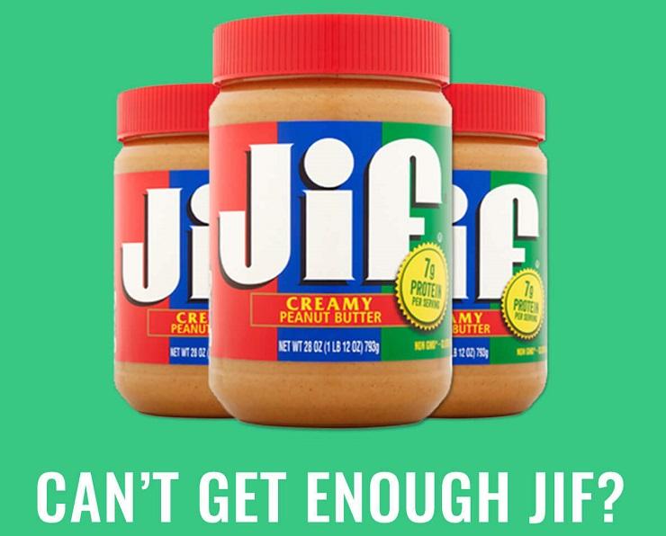 Three jars of Jif creamy-style peanut butter.