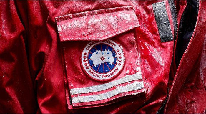 The Canada Goose logo on a pocket of its jackets