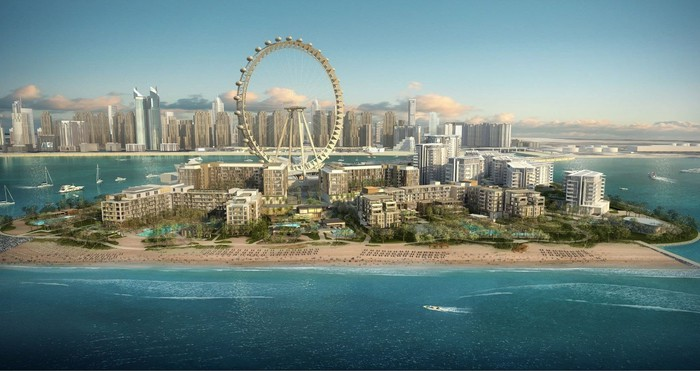 Caesars development in Dubai showing a beachfront resort and ferris wheel..