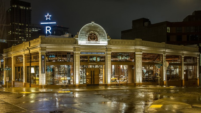 The Seattle Starbucks Reserve Roastery and Tasting Room at night