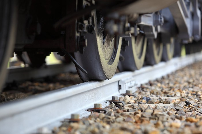 Close-up of railway cargo wheels.
