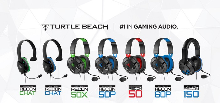 "Seven of Turtle Beach's gaming headset models lined up horizontally with company name and logo and phrase ""#1 in gaming audio"" above them."