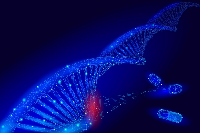 A strand of DNA being modified at the molecular level.