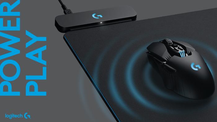 Logitech wireless mouse on top of a mouse pad.