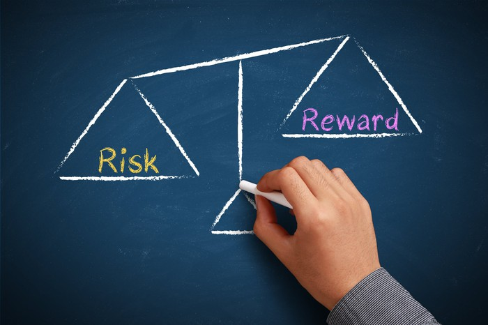 A hand drawing a scale weighing risk versus reward