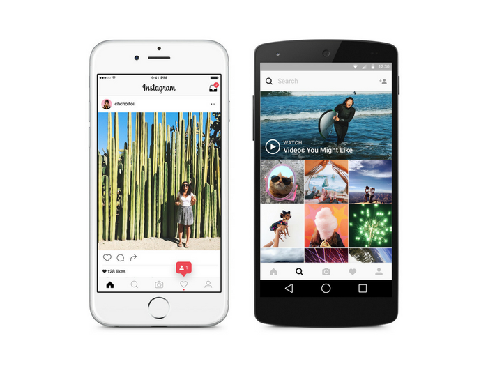 Instagram app shown on two phones side-by-side