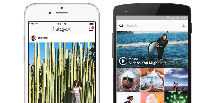 Instagram interface on two smartphones side-by-side