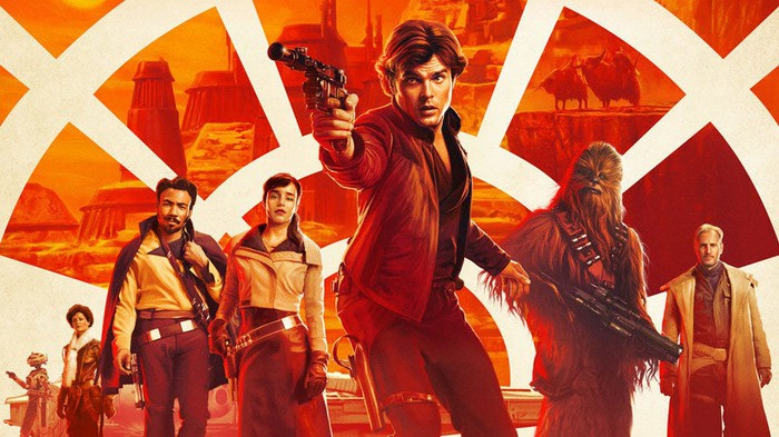 A movie poster for Solo: A Star Wars Story. Various characters from the movie stand behind a young Han Solo.