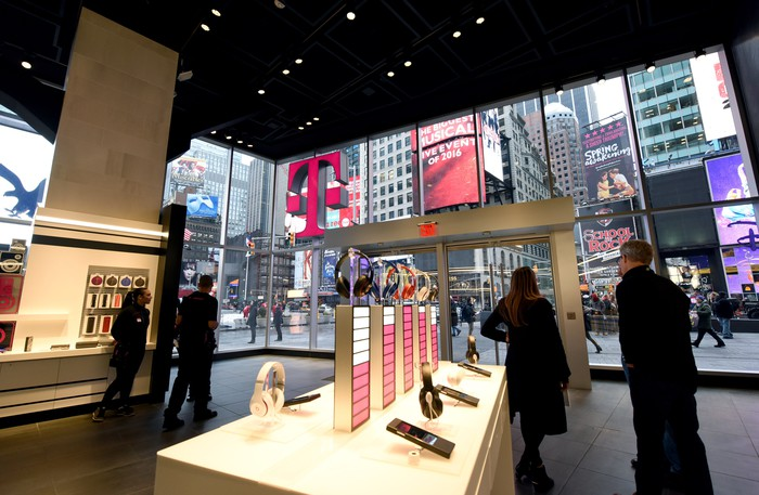 Interior of a T-Mobile retail store in New York City