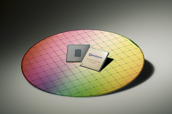 Two Qualcomm Centriq chips on a wafer.