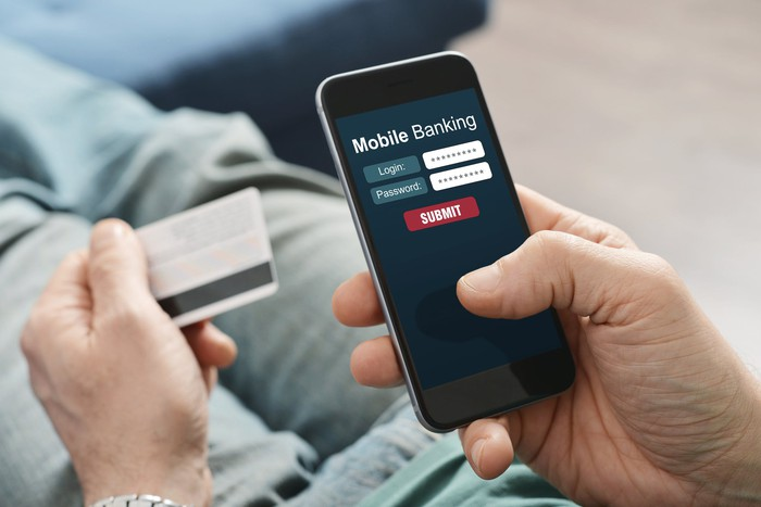 Mobile Banking displayed on smartphone