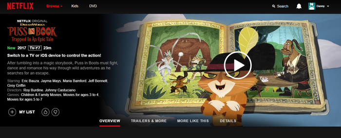 Netflix landing page for Puss in Book:Trapped in an Epic Tale, with an animated cat and a storybook.