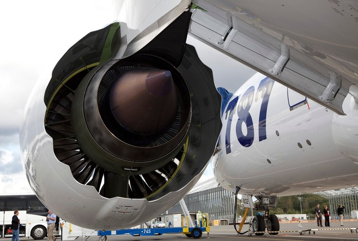 A Rolls-Royce Trent 1000 engine installed on a Boeing 787 Dreamliner