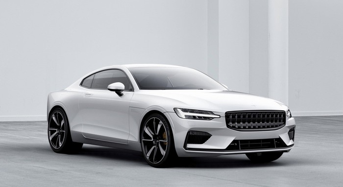 The Polestar 1, a plug-in hybrid sports coupe from a joint venture between Volvo Cars and Geely Auto.