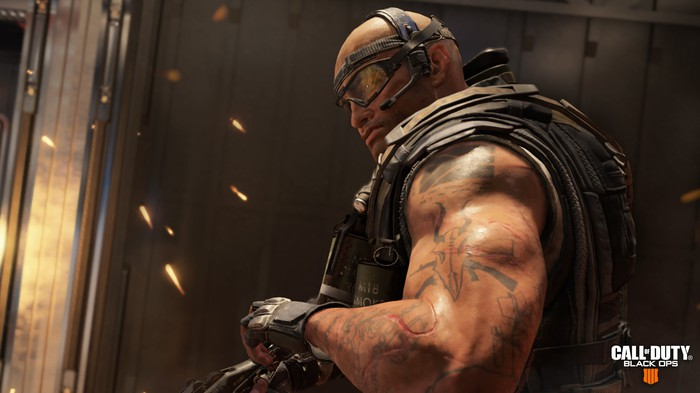 Ajax, a muscle-bound character from Call of Duty: Black Ops 4.