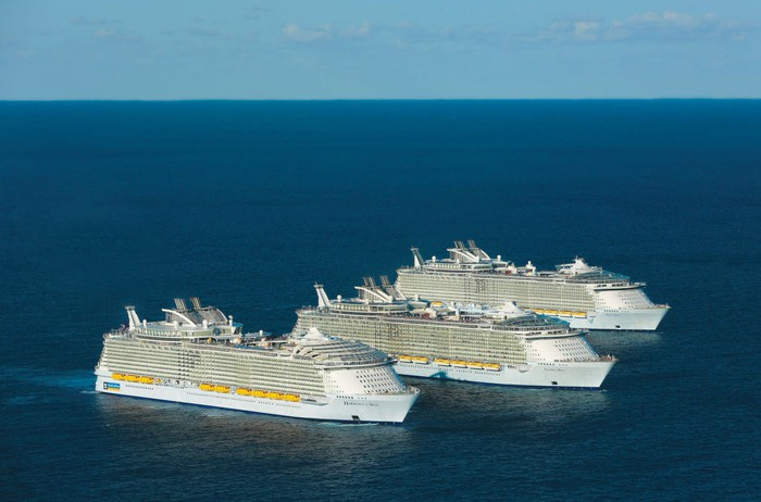 Three Royal Caribbean cruise ships at sea