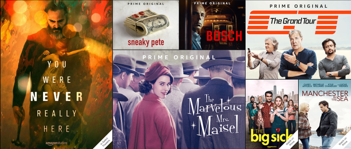 "A collage showing various Amazon original shows including ""You Were Never Really Here"" and ""The Marvelous Mrs. Maisel."""