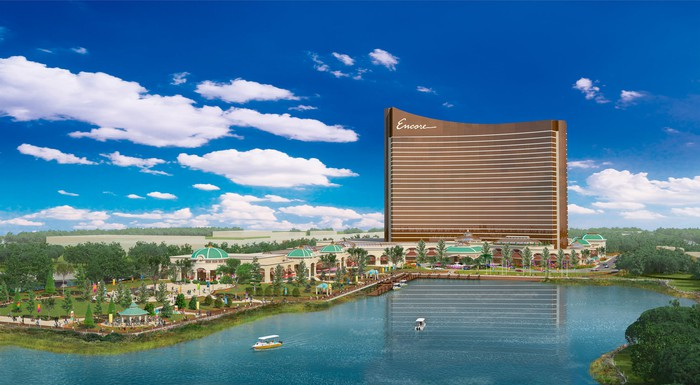 Rendering of Wynn Encore Boston Harbor, showing a large building surrounded by extensive landscaping