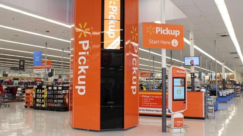 A pickup kiosk at a Walmart store.