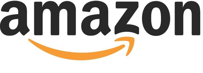 Amazon logo with black word Amazon and orange upward-pointing arrow.
