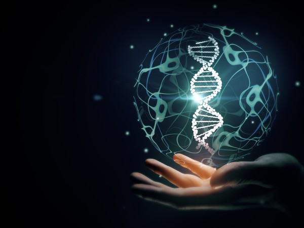 DNA image over hand