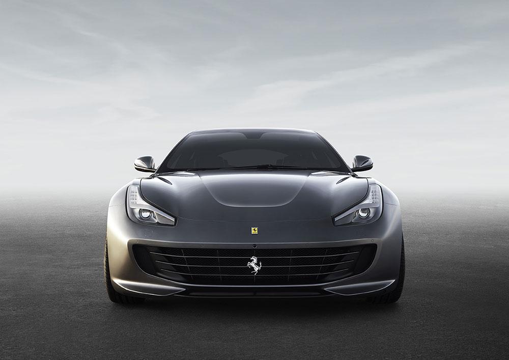 Front view of a grey Ferrari sports car.