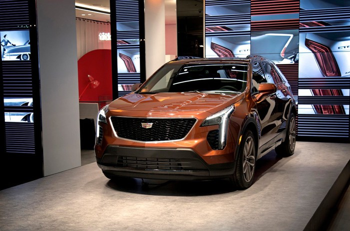General Motors' 2019 XT4 Cadillac on display in a showroom.