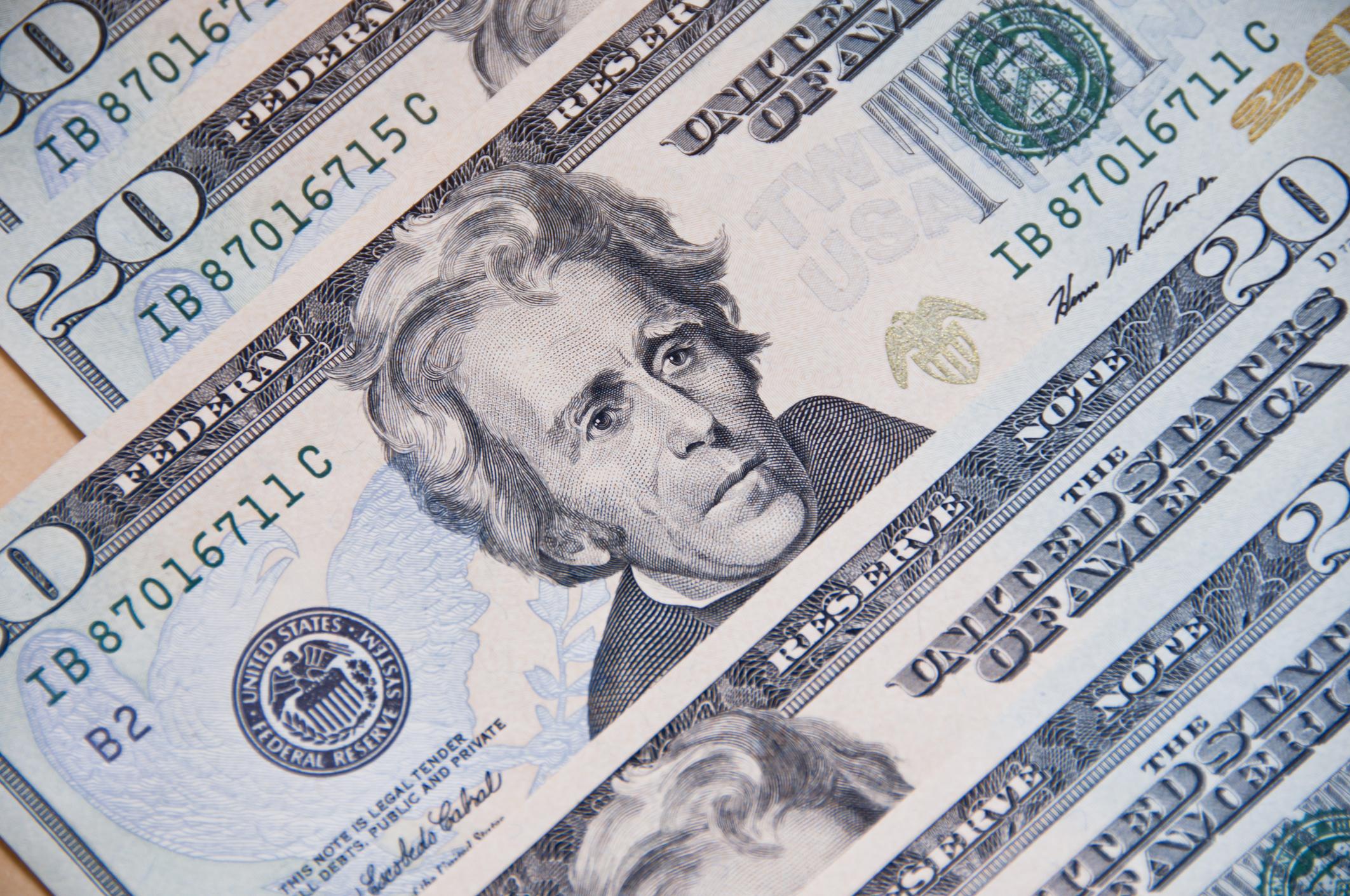 Several $20 bills.