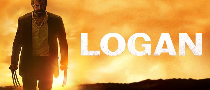 """Wolverine, with claws extended, and the movie title """"Logan."""""""