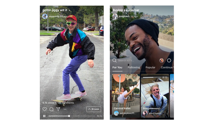 Examples of IGTV app interface