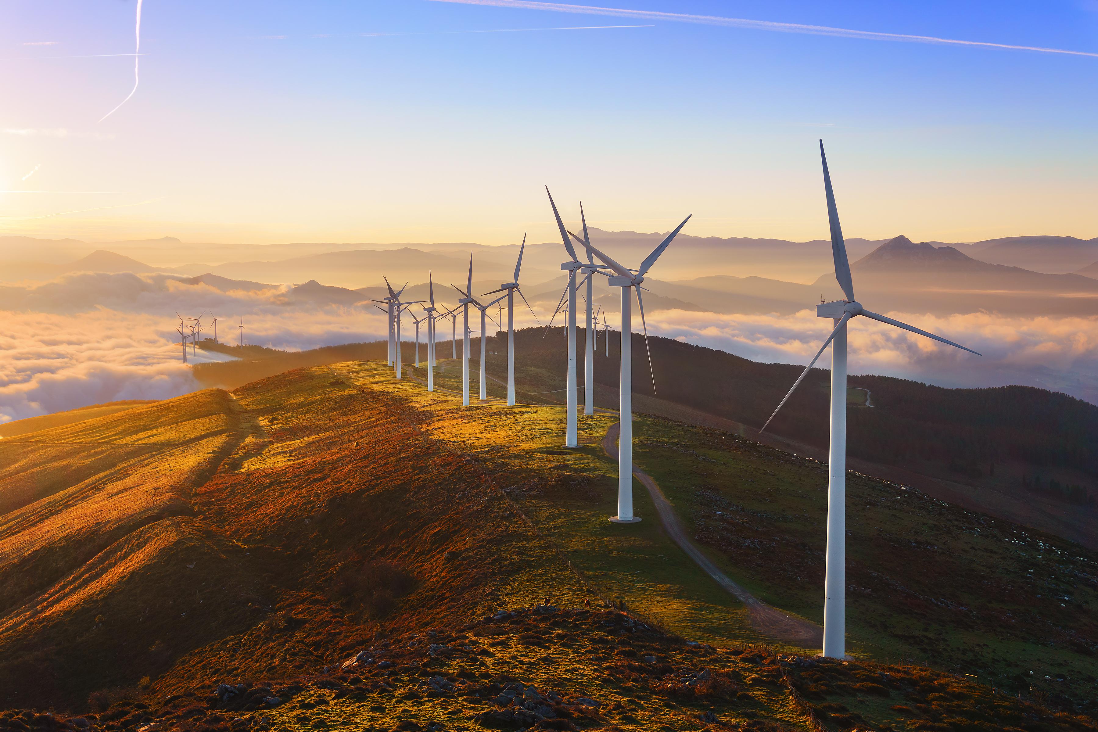 Wind turbines on mountain