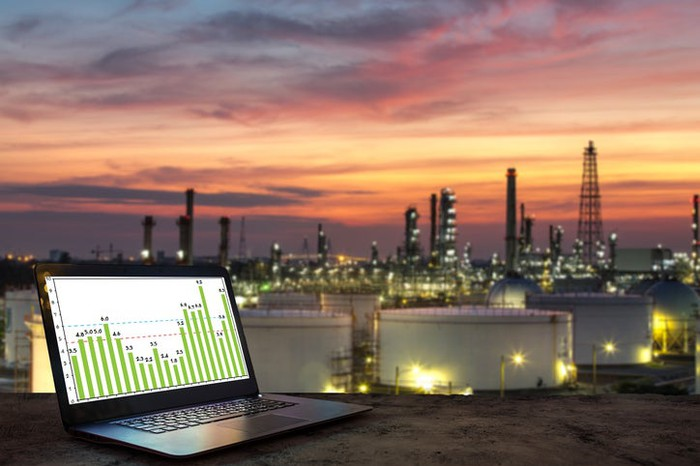 A laptop with several graphs displayed on the screen and an oil refinery complex in the background.