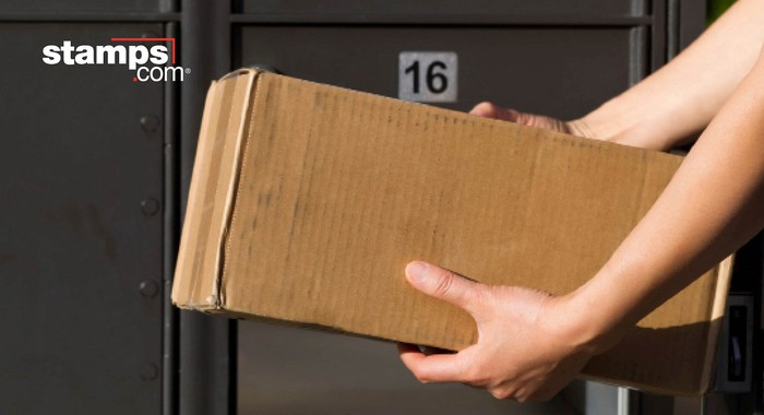 Two arms holding a package in front of a locker, with Stamps.com logo at upper left.