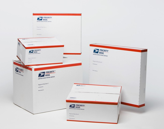 Five boxes from the U.S. Postal Service.
