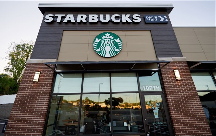 The exterior of a Starbucks store.