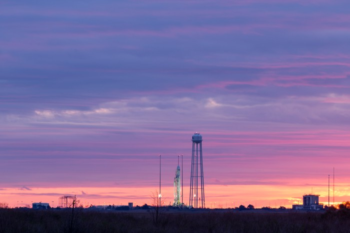 Antares rocket on pad