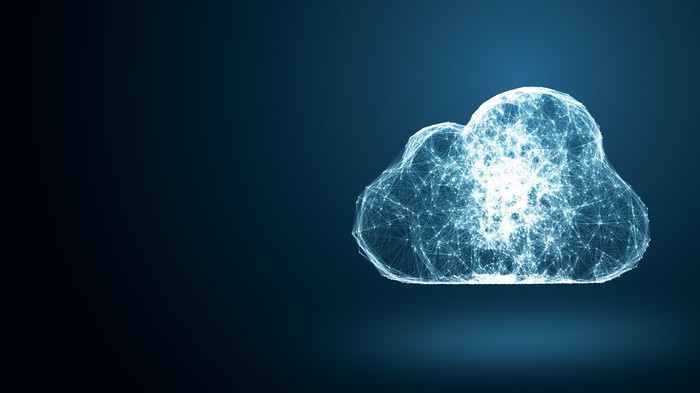 Cloud-shaped nightlight with a design suggesting a computer network