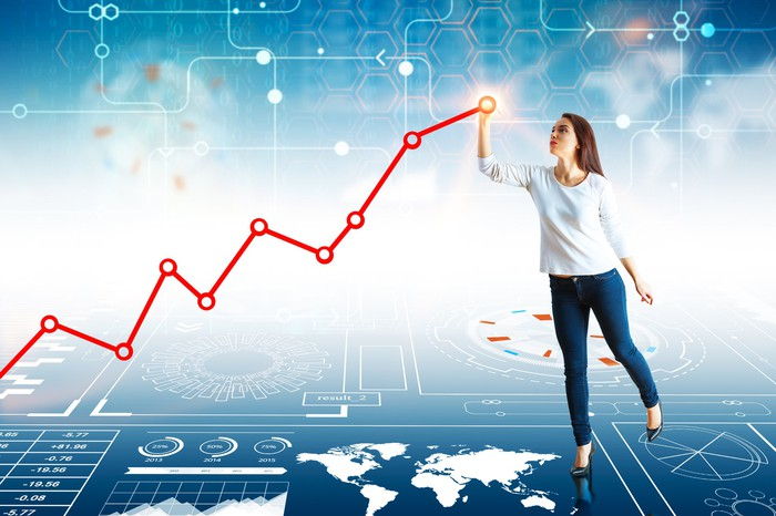 A woman points to the top of a rising stock chart line, superimposed over a tech-looking illustration of circuits, charts, and a map of the world.