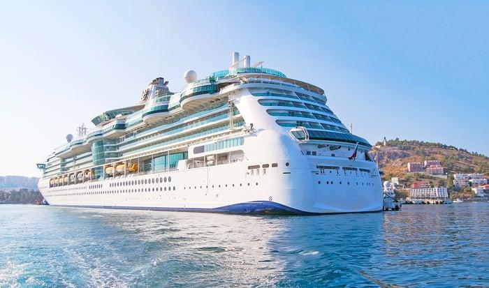 Cruise ship off an island.