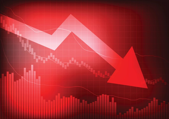 Red, downward arrow and stock graph.