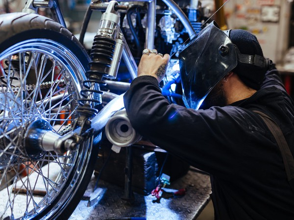 Motorcycle manufacture assembly repair getty