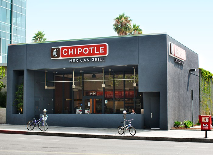 The exterior of a Chipotle restaurant.
