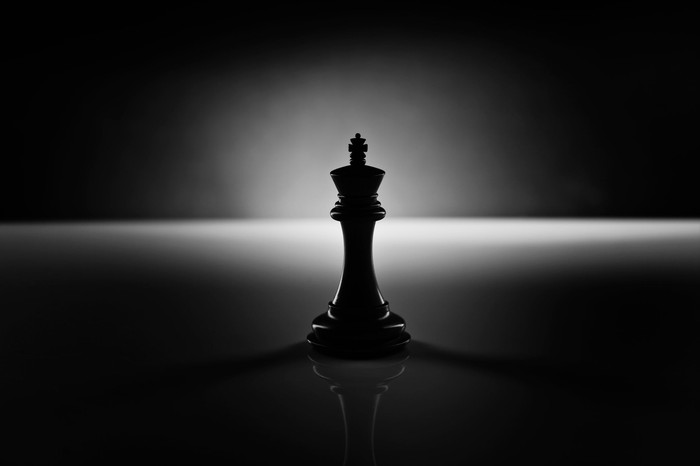 A black king chess piece in the shadows.