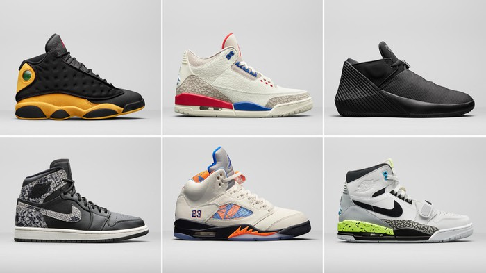 Grid with six different Nike Air Jordan sneakers