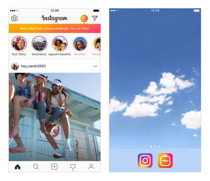 Screen shots of the Instagram app, one with three people smiling sitting on a fence, and another of fluffy clouds in a blue sky.