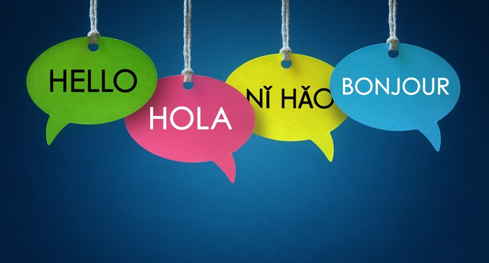 Hello written in speech bubbles in several foreign languages