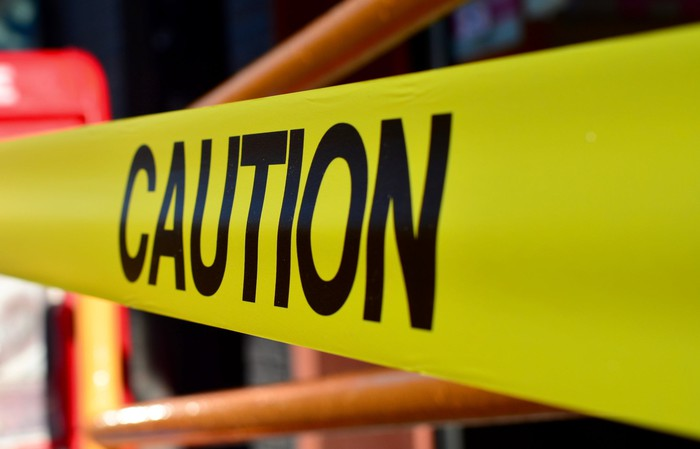 Yellow caution tape, close-up