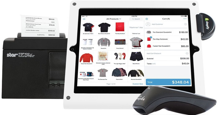 The Shopify app on a tablet, with an accompanying card reader, receipt printer, and scanner.
