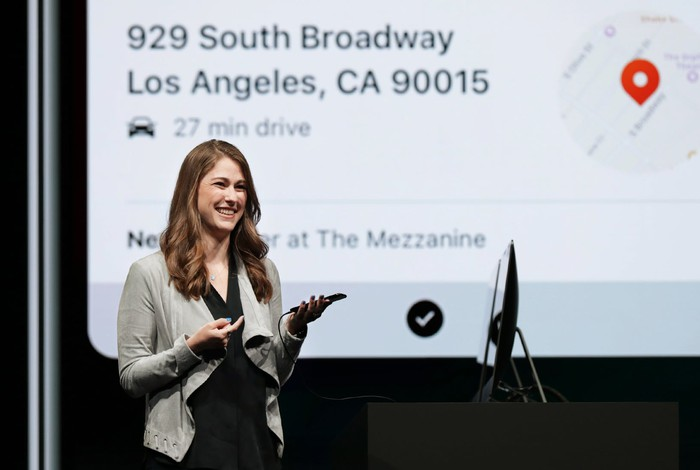 Kinberly Beverett on stage at an Apple event.
