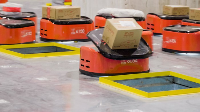 Sorting robots at a JD.com warehouse.